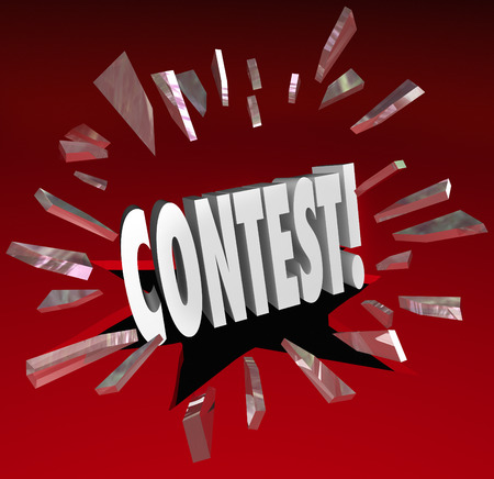 vying: Contest 3d word breaking through red glass to illustrate an announcement or news of a raffle, drawing, challenge, game or competition to win big prizes