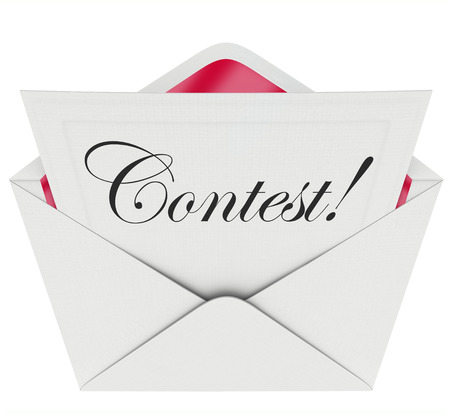 vying: Contest word in script text on an invitation or entry form to invite you to play a game or take a challenge to compete for a prize or jackpot