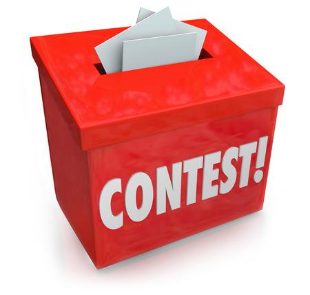 コンテスト エントリー フォームを入力する 3 d 赤コレクション ボックス上単語そして賞、賞を受賞またはランダムな図面でジャック ポットを獲得