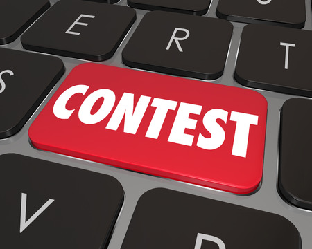 vying: Contest word on a red computer key or button to illustrate an online challenge, game or competition that will award a jackpot or other prize to a lucky winner