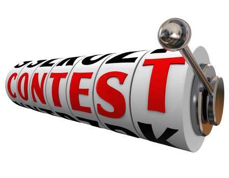 Contest word on slot machine dials or wheels to encourage you to play, bet or gamble to take a chance at winning a jackpot or big money prize photo