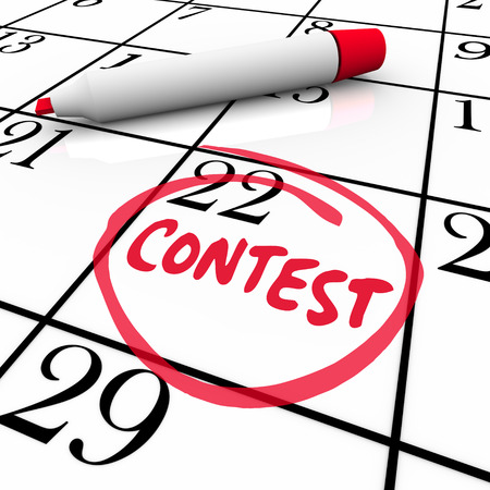 test deadline: Contest word circled on a calendar to remember the date of an entry deadline for participating in a special jackpot drawing or prize competition