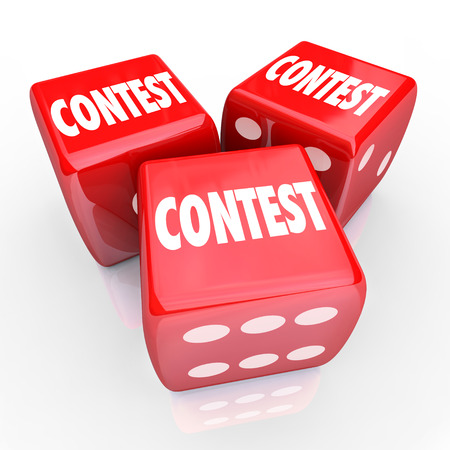 vying: Contest word on three red 3d dice to illustrate rolling and playing to win in a game of chance or skill to compete for a prize, jackpot or award Stock Photo