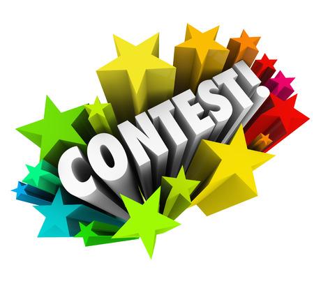 Contest woord in 3d letters om spannende nieuws van een loterij, tekening, spel of competiton voor u om te gaan en hopelijk win een prijs of een jackpot te kondigen Stockfoto