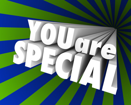noteworthy: You Are Special words in a striped background Stock Photo