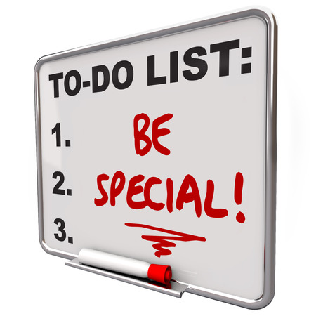 memorable: Be Special words written on a to do list on a dry erase board to illustrate the importance of standing out from the crowd as distinct, unique, different, uncommon, exceptional Stock Photo