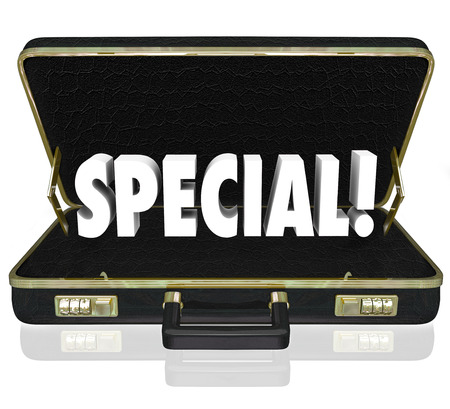 exceptional: Special word in 3d letters in a black leather briefcase to illustrate a business presention, offer or proposal that is unique and a good deal for a purchase or investment