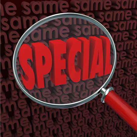 exceptional: Special word under a magnifying glass surrounded by Same words to illustrate searching for and finding something different, unique, exceptional, unusual, uncommon or rare Stock Photo