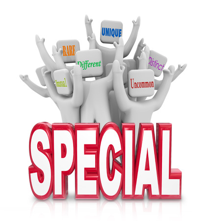 specialization: Special word with a team of people cheering with terms like Unusual, Rare, Unique, Different, Uncommon and Distinct Stock Photo