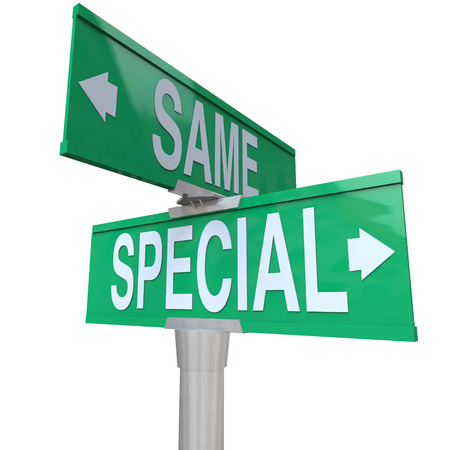 specialization: Special versus Same words on green two way road or street signs to illustrate the difference of being unique or distinct as opposed to being bland and like everyone else