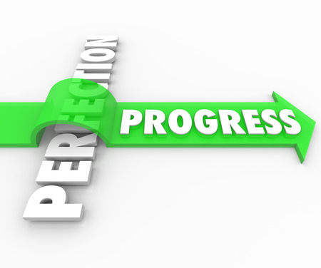 avoid: Progress word rides a green arrow over the word Perfection to illustrate a drive toward improvement and away from the quest for perfect results which can result in procrastination or paralysis Stock Photo