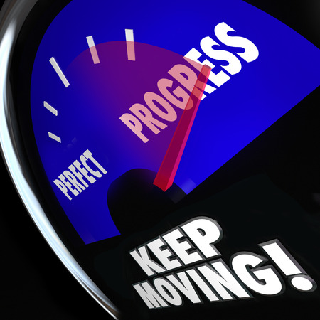 Progress and Perfect words on a gauge or speedometer to measure your advacement or improvement to illustrate you should focus on moving forward and not worry about perfection Stock Photo