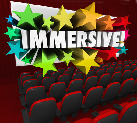 captivate: Immersive word on a 3d movie theater screen to illustrate an engrossing or involving entertainment experience or viewing captivation