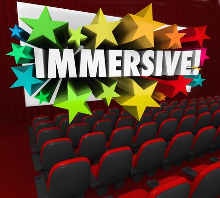 involving: Parola coinvolgente sullo schermo di un cinema 3d per illustrare un stordimento avvincente o coinvolgente esperienza di intrattenimento o la visualizzazione