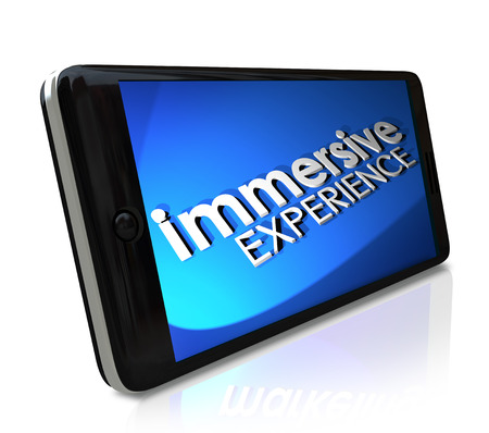 captivation: Immersive Experience words on a smart phone screen or display to illustrate a viewing sensation Stock Photo