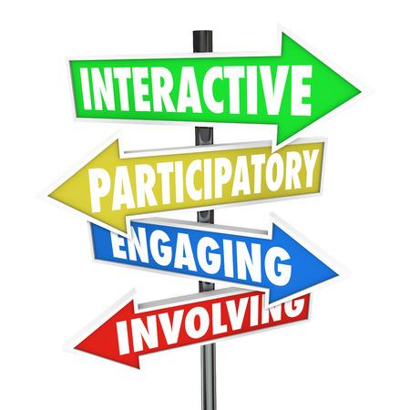 Interactif, participatif, Engagement et implication mots sur les panneaux routiers de direction pour illustrer les possibilités de communiquer et de travailler ensemble en tant que groupe