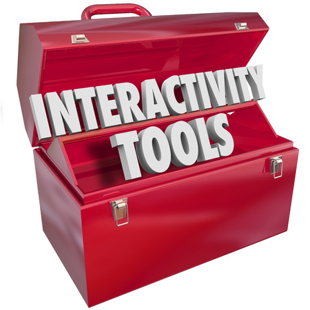 interactivity: Interactive word in3d letters to illustrate a system for working together to collaborate and get goals accomplished and tasks done with cooperation Stock Photo
