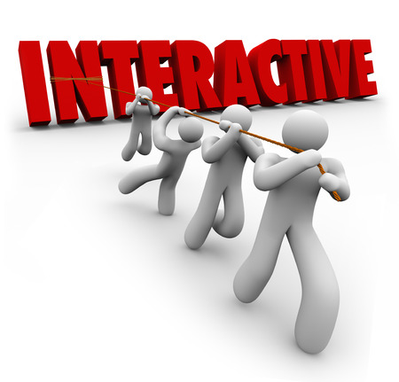interactivity: Interactive word in red 3d letters to illustrate a team working together and cooperating to interact and act together in collaboration towrad a common goal Stock Photo