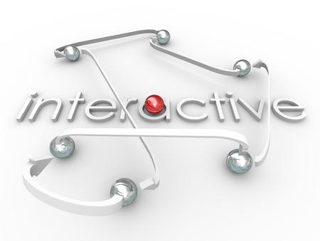 involving: Parola Interactive in lettere 3d e sfere metalliche collegate da frecce per illustrare la comunicazione con gli altri nella vostra rete sociale o organizzazione Archivio Fotografico