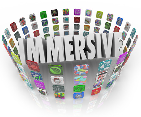 Immersive word in 3d letters surrounded by rings of app icons representing programs, software or applications that offer an absorbing, involving and engaging experience