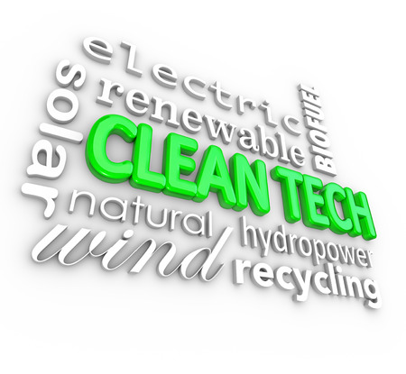 recursos renovables: Palabras de tecnolog�a limpia en 3d letras rodeadas por las empresas de energ�a de punta, tales como electricidad, energ�a solar, e�lica, hidroel�ctrica, biocombustibles y otros recursos renovables y fuentes de energ�a naturales Foto de archivo