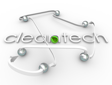harnessing: Cleantech word in 3d white letters surrounded by arrows and spheres and a green leaf ball symbolizing natural renewable power and energy resources