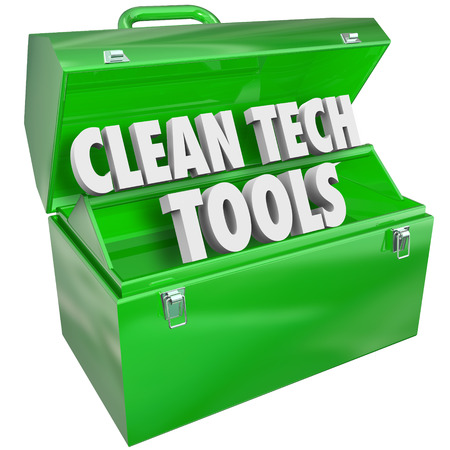 rely: Clean Tech Tools words in a green metal toolbox to illustrate renewable energy or power resources that rely on and protect natural environmental interests