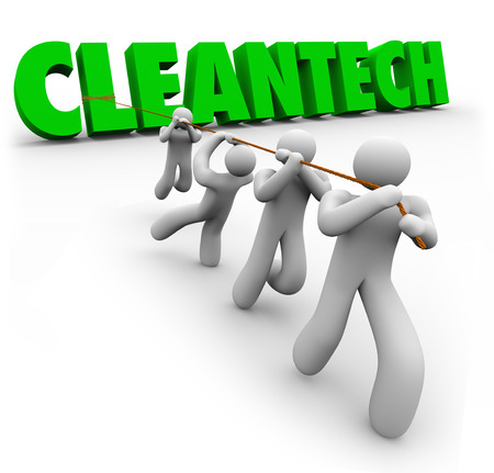 disruptive: CleanTech word pulled up by a team of people working together to find renewable power or energy resources as a new disruptive business or industry innovation Stock Photo