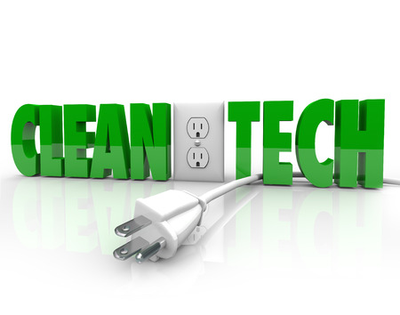 Clean Tech words and electrical outlet with power plug unplugged to illustrate switching to renewable sources of energy to conserve and protect nature and the environment