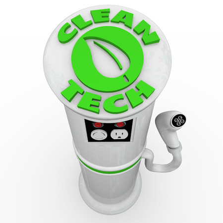 emit: Clean Tech words on an EV electric vehicle charging station with power energy plug to recharge your car or automobile running on electricity to conserve fossil fuels and not emit pollution and CO2 Stock Photo