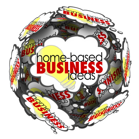 Home Based Business Ideas words in a thought cloud sphere to illustrate brainstorming new opportunities to succeed with self-employment work or job  photo