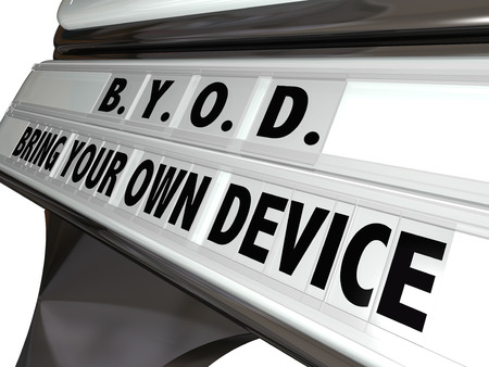 mobile voip: BYOD acronym and words Bring Your Own Device on a sign outside a company, business, store or restaurant to illustrate employees and customers may use their personal smart phones or mobile tablets inside