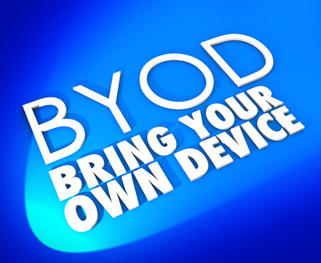 Bring Your Own Device words and BYOD acronym abbreviation in 3d letters on a blue background to illustrate a corporate policy inviting you to use a personal smart phone or tablet computer at work in your job photo