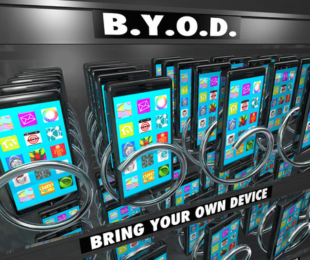 mobile voip: BYOD Bring Your Own Device words on a smart cell phone vending machine to illustrate a company encouraging its employees to buy and use their own mobile hardware and computers at work
