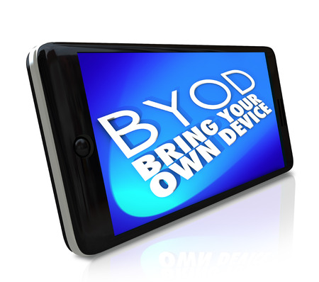 BYOD Bring Your Own Device acronym or abbreviation and words on a blue screen of a smart cell phone to convey a company corporate policy encouraging employees to use personal devices at work photo
