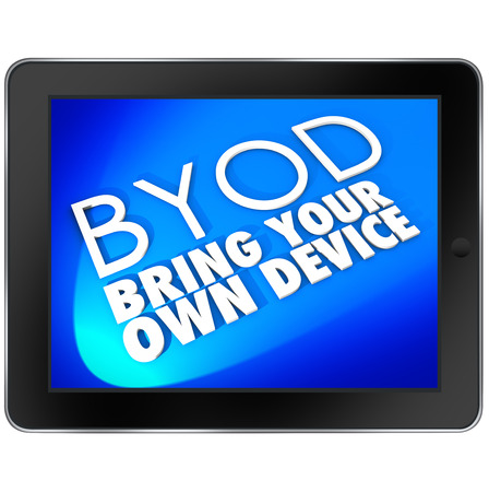 Acronym BYOD meaning Bring Your Own Device on a tablet computer screen to show the company policy will allow and encourage you to use a personal pad hardware or other mobile unit at work on the job photo