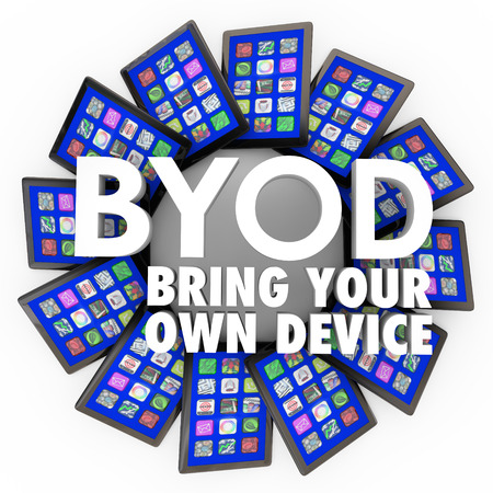 mobile voip: BYOD acronym and the words Bring Your Own Device on a circlular pattern of tablet computers to illustrate a corporate policy letting you work on your own hardware Stock Photo