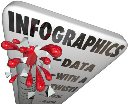 concise: Infographics word on a thermometer to illustrate measurement of data illustration use in media, presentations, websites, newspapers and other forms of popular communication Stock Photo