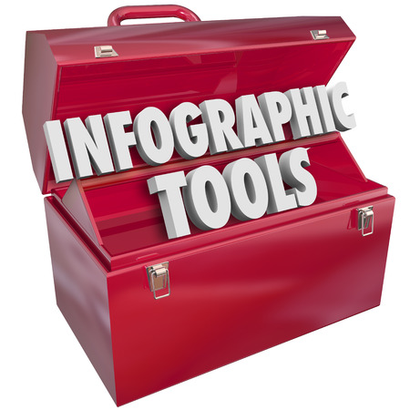 informational: Infographic Tools words in 3d letters on a red metal toolbox to illustrate how to build, create or make informational graphics to convey important messages or data