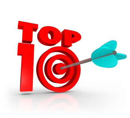 Top 10 words in 3d letters to illustrate aiming for and achieving a great or best ten score or result as a rating, review, award, or accolade for performance or achieving success in work or life Stock Photo