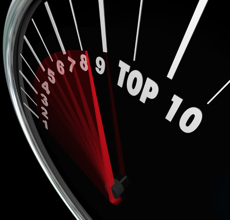 scores: Top 10 ratings or scores measured on a speedometer with needle racing and rising to illustrate best ten results, ratings, reviews and awards for achievement and performance