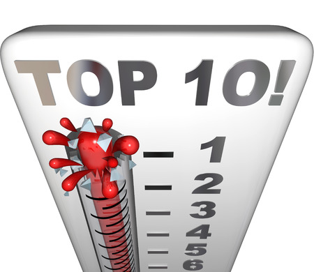 Top 10 words on a thermometer measuring, reviewing or rating the ten best choices or scores for performance, work or achievement