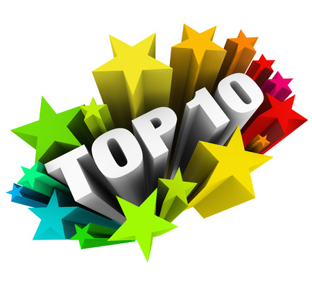 Top 10 words surrounded by colorful stars or fireworks celebrating your rating or review as one of the best ten candidates, workers, artists, producers or choices in a competition or award program