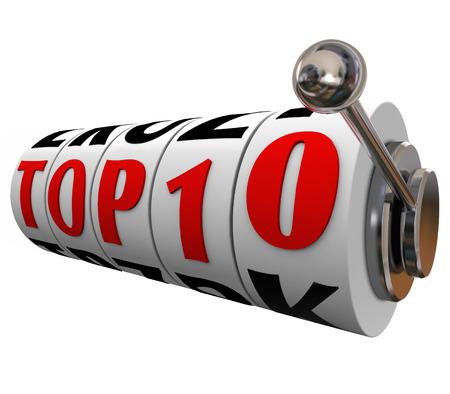 finalistin: Top 10 W�rter auf Spielautomaten w�hlt oder R�der, um eine beste Bewertung oder eine Beurteilung zu den zehn f�hrenden Entscheidungen, Personen, Produkte oder Werke gegeben zu veranschaulichen Lizenzfreie Bilder