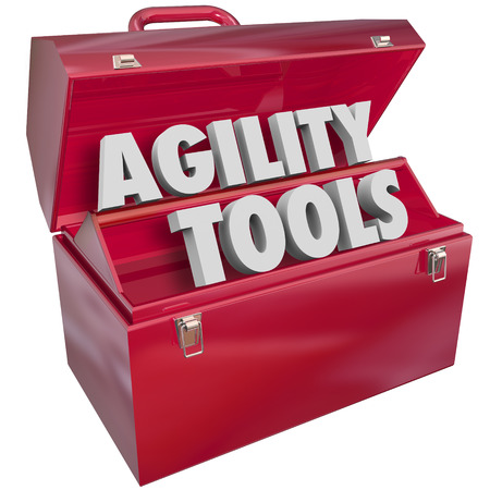 manage: Agility Tools words in a red metal toolbox to illustrate the skills needed to adapt, change and adjust to overcome a problem or challenge