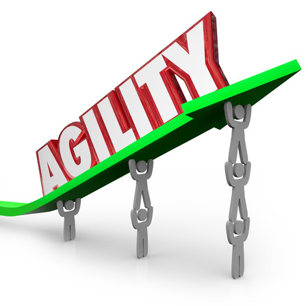 Agility word on an arrow lifted by a team of people or workers to quickly adapt to overcome a challenge, work together toward a common goal and achieve success Stock Photo