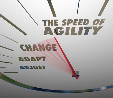 The Speed of Agility words on a speedometer with needle racing past Adjust, Adapt and Change to show the quickness and rapid pace of keeping up with the need to innovate to survive and thrive Banco de Imagens - 27346369
