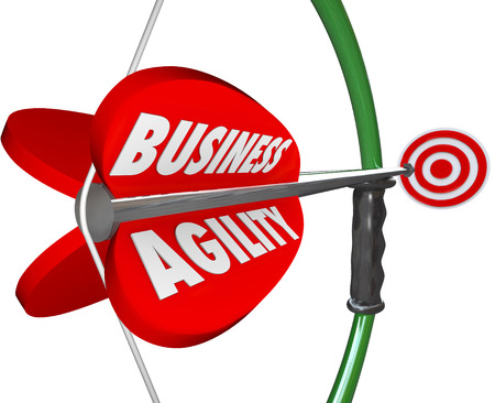 manage: Business Agility words on a bow and arrow aiming at a target of fast or quick change, adaptation, innovation and modernization to overcome stagnation or resistance to the future