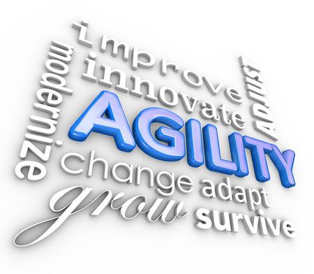 innoveren: Agility en verwante woorden in een 3D render collage achtergrond, met inbegrip van de modernisering, verbetering, innovatie, verandering, groei, aan te passen en te overleven Stockfoto