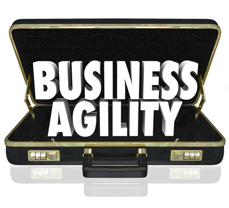business pitch: Business Agility words in a black leather briefcase to illustrate the ability to quickly adapt to changing conditions in a presentation, pitch or proposal Stock Photo